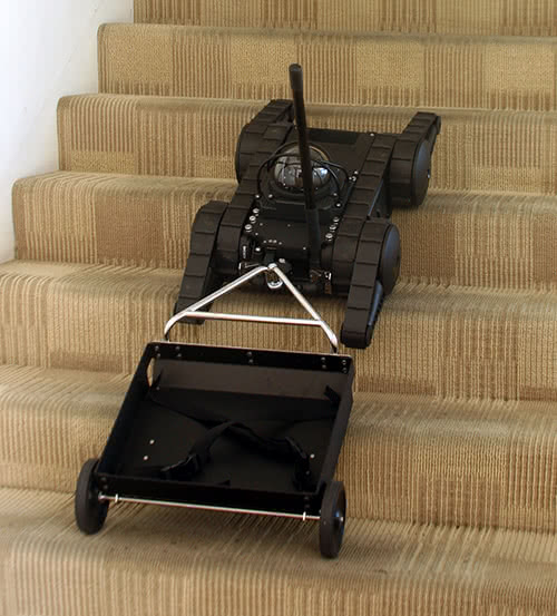Hitch and Trailer Pulled Up Stairs by Avatar Robot
